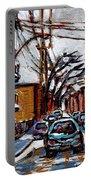 Plateau Mont Royal Scenes De Rue De Montreal En Hiver Rue Napoleon Petit Format A Vendre Portable Battery Charger