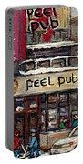 Rue Peel Montreal En Hiver Parie De Hockey De Rue Peel Pub Portable Battery Charger