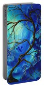 Abstract Art Asian Blossoms Original Landscape Painting Blue Veil By Madart Portable Battery Charger