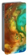 Abstract Art Colorful Turquoise Rust River Of Rust I By Madart  Portable Battery Charger