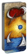 Abstract Art Contemporary Coastal Cityscape 3 Of 3 Capturing The Heart Of The City I By Madart Portable Battery Charger