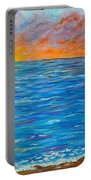 Abstract Art- Flaming Ocean Portable Battery Charger