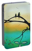 Abstract Art Landscape Bird Painting Family Perch By Madart Portable Battery Charger