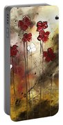 Abstract Art Original Flower Painting Floral Arrangement By Madart Portable Battery Charger