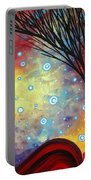 Abstract Art Whimsical Landscape Painting Morning Bliss By Madart Portable Battery Charger