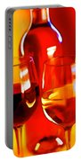 Abstract Bottle Of Wine And Glasses Of Red And White Portable Battery Charger
