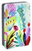 Abstract Cactus And Flowers Portable Battery Charger