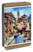 Abstract Canal Scene In Venice L A S With Decorative Ornate Printed Frame. Portable Battery Charger
