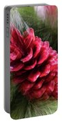 Abstract Christmas Card - Red Pine Cone Blast Portable Battery Charger