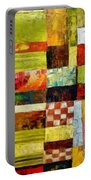 Abstract Color Study With Checkerboard And Stripes Portable Battery Charger