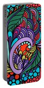 Abstract Colorful Floral Design Portable Battery Charger