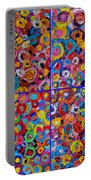 Abstract Colorful Flowers 4 Portable Battery Charger