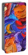 Abstract Colorful Flowers Impasto Palette Knife Modern Impressionist Oil Painting Ana Maria Edulescu Portable Battery Charger