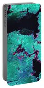 Abstract Corrosive Metal Background With Turquoise Paint Cracks Portable Battery Charger