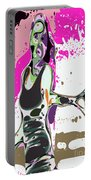 Abstract Female Tennis Player Portable Battery Charger