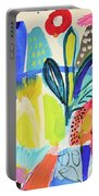 Abstract Jungle And Wild Flowers Portable Battery Charger