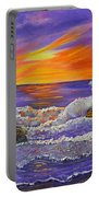 Abstract Ocean- Oil Painting- Puple Mist- Seascape Painting Portable Battery Charger