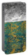Abstract Original Painting Contemporary Metallic Gold And Teal With Gray Madart Portable Battery Charger
