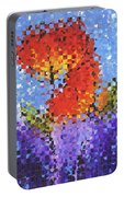 Abstract Red Flowers - Pieces 5 - Sharon Cummings Portable Battery Charger