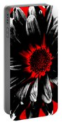 Abstract Red White And Black Daisy Portable Battery Charger