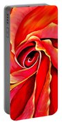 Abstract Rosebud Fire Orange Portable Battery Charger