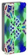 Abstract Seamless Pattern - Blue Green Turquoise Red White Portable Battery Charger