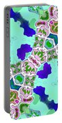 Abstract Seamless Pattern  - Blue Turquoise Green Pink White Portable Battery Charger