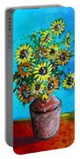 Abstract Sunflowers W/vase Portable Battery Charger