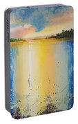 Abstract Waterfall At Sunset Portable Battery Charger