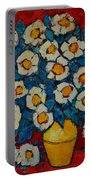 Abstract Wild White Roses Original Oil Painting Portable Battery Charger