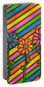 Aceo Abstract Flowers Portable Battery Charger