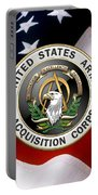 Acquisition Corps - A A C Branch Insignia Over U. S. Flag Portable Battery Charger