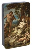 Adam And Eve With The Infants Cain And Abel Portable Battery Charger