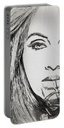 Adele Charcoal Sketch Portable Battery Charger