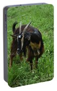 Adorable Goat In A Field With Thick Green Grass Portable Battery Charger