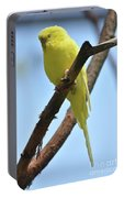 Adorable Little Yellow Parakeet In A Tree Portable Battery Charger