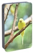 Adorable Yellow Budgie Parakeet Relaxing In A Tree Portable Battery Charger
