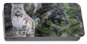 Adult Snow Leopard Standing On Rocky Ledge Portable Battery Charger