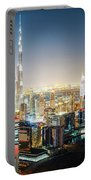Aerial Panorama View Of Dubai By Night Portable Battery Charger