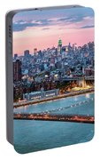 Aerial Panoramic Of Midtown Manhattan At Dusk, New York City, Us Portable Battery Charger