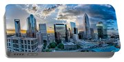 Aerial View Of Charlotte City Skyline At Sunset Portable Battery Charger