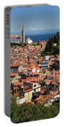 Aerial View Of Piran Slovenia With St George's Cathedral On The  Portable Battery Charger