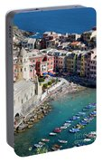 Aerial View Of Vernazza, Cinque Terre, Liguria, Italy Portable Battery Charger