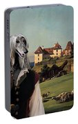 Afghan Hound-falconer And Castle Canvas Fine Art Print Portable Battery Charger