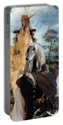 Afghan Hound-falconer And Windmill Canvas Fine Art Print Portable Battery Charger
