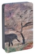African Landscape Baby Elephant And Banya Tree At Watering Hole With Mountain And Sunset Grasses Shr Portable Battery Charger
