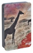 African Landscape Giraffe And Banya Tree At Watering Hole With Mountain And Sunset Grasses Shrubs Sa Portable Battery Charger