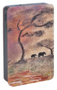 African Landscape Three Elephants And Banya Tree At Watering Hole With Mountain And Sunset Grasses S Portable Battery Charger