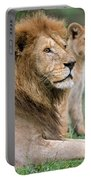 African Lion Panthera Leo With Its Cub Portable Battery Charger