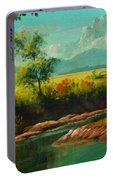 Afternoon By The River With Peaceful Landscape L A S Portable Battery Charger